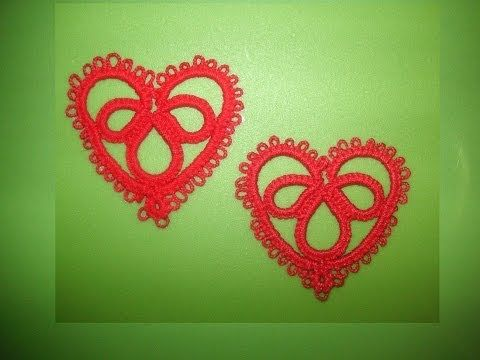 ▶ 25' TUTORIAL FACILE VELOCE CUORE ORECCHINI CIONDOLO CHIACCHIERINO AD AGO EASY HEART NEEDLE TATTING - YouTube