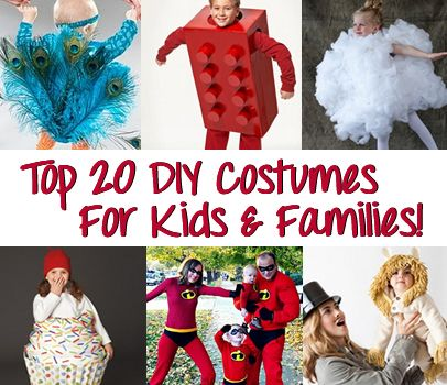 Top DIY Costumes for babies, kids, and entire families!!  There are some awesome ideas here!