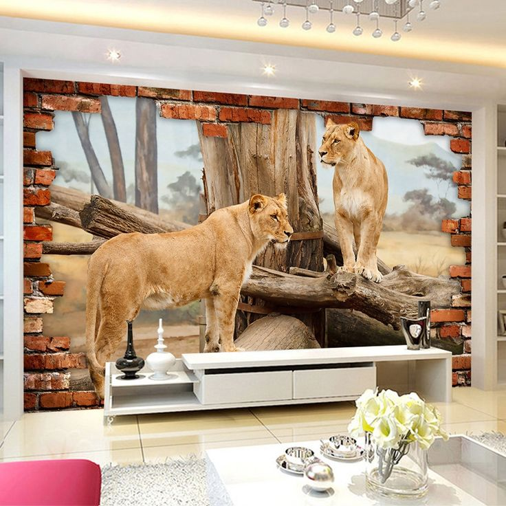 16.20$  Buy here - beibehang ustom Photo Wallpaper 3D Stereo Space Brick Wall Animal Lion Background Wall Sticker Mural Bedroom Papel De Parede  #shopstyle