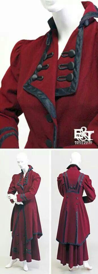 2 piece burgundy wool suit 1908.