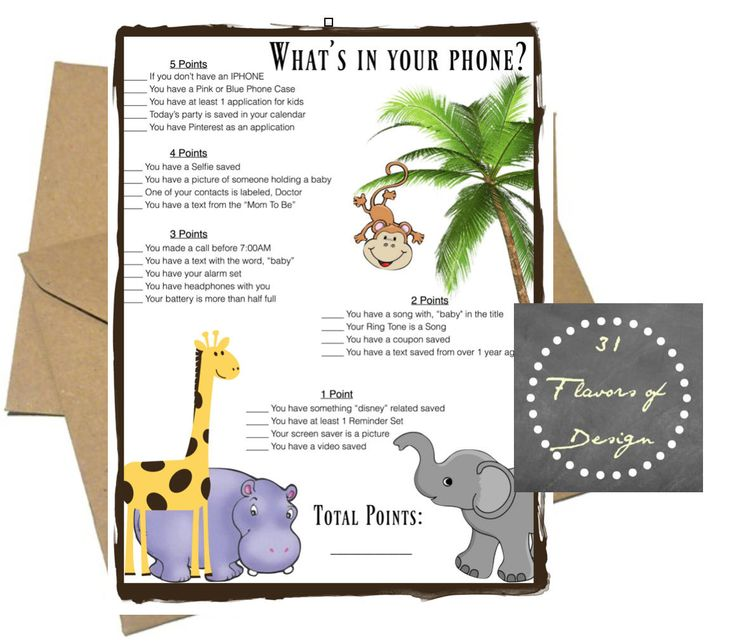 baby shower game whats in your phone jungle theme