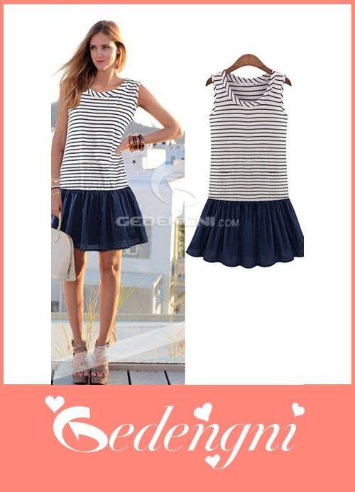 Cheapest Casual O Neck Sleeveless Black White Striped Skater Dress