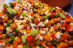 Mexican Caviar-- sweet and tangy bean and pepper salsa served on Fritos or tortilla chips.  Great summer picnic food!