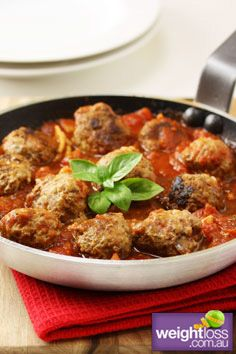Healthy Dinner Recipes: Baked Meatballs in Tomato sauce. #HealthyRecipes #DietRecipes #WeightLoss #WeightlossRecipes weightloss.com.au