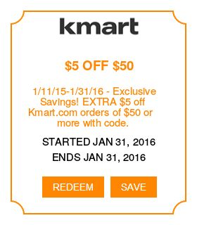 Kmart *Coupons - 1/11/15-1/31/16 – Exclusive Savings! EXTRA $5 off Kmart.com orders of $50 or more with code.* I'm in! Are you? Visit: http://www.imin.com/store-coupons/kmart/