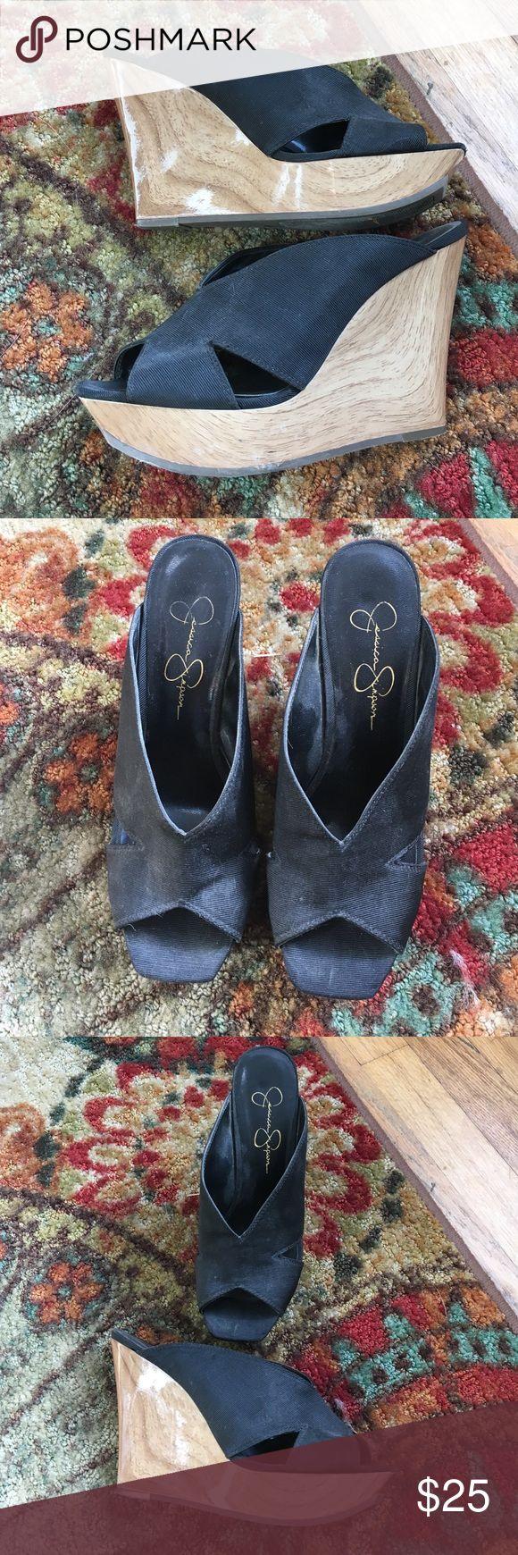 Jessica Simpson black slide wedge Size 7 Jessica Simpson Shoes Wedges
