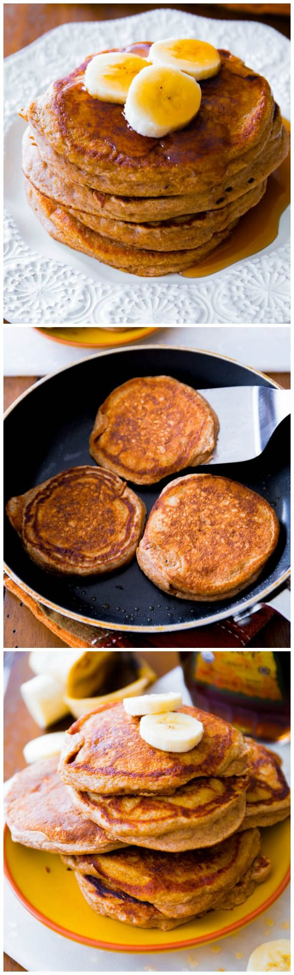New Years resolution friendly Banana Pancakes! These are whole wheat and made with wholesome ingredients.
