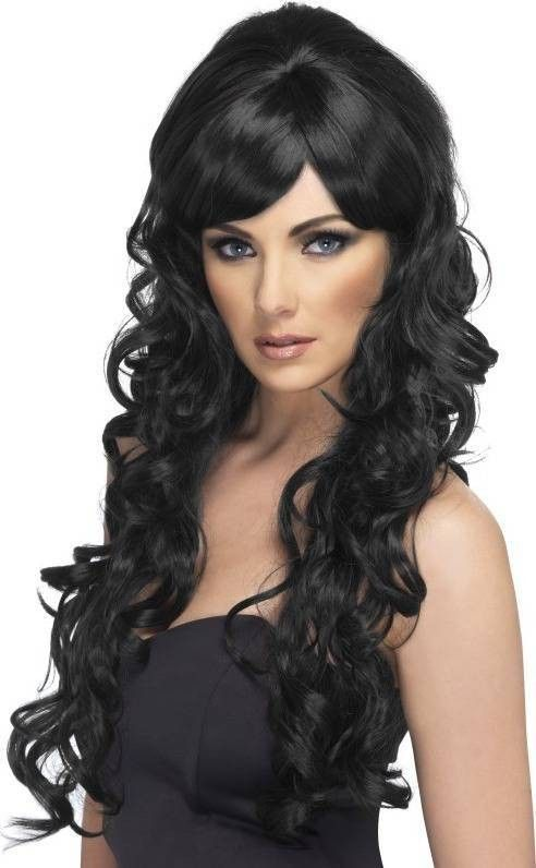 Smiffy/'s Women/'s Long and Straight Black Wig with Bangs One Size Glamourama