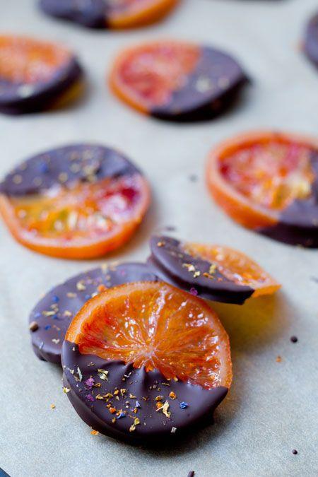 Orangettes sanguinas con chocolate (orangettes van bloedsinaasappels met chocolade)
