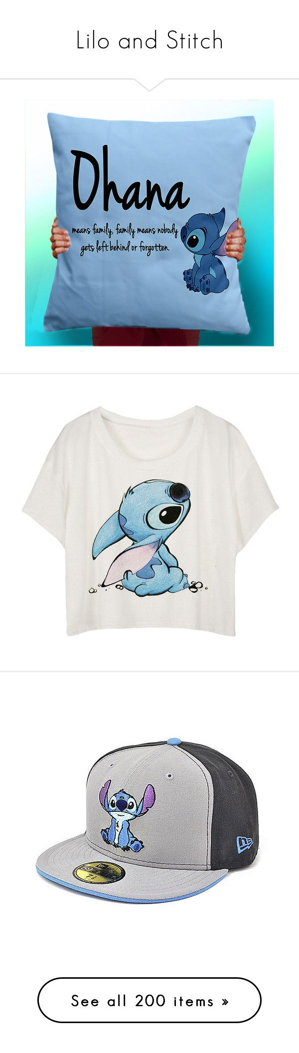 """""""Lilo and Stitch"""" by dani-loves-wwe-music ❤ liked on Polyvore featuring home, home decor, decorative pillows, home & living, home décor, light purple, handmade home decor, tops, t-shirts and shirts"""