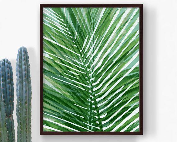 Printable Green Tropical Leaf Print Palm Leaf by RepublicaDeCali