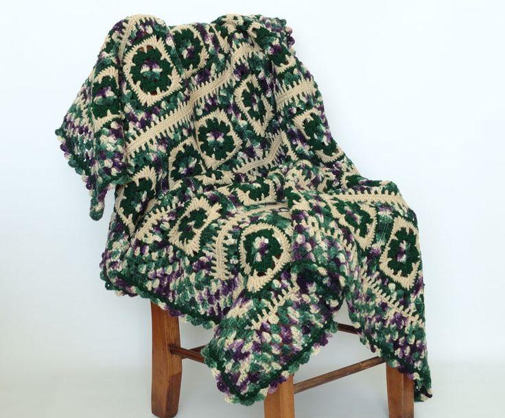 👧🏼 Crochê Avó Quadrados afegão Padrão itens decorativos Criações -  /  👧🏼 Crochet Granny Square Afghan Pattern Knacks Creations -