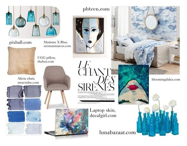 """""""siréne"""" by estherkiss on Polyvore featuring interior, interiors, interior design, home, home decor, interior decorating, PBteen, Oliver Gal Artist Co., Cultural Intrigue and UGG"""