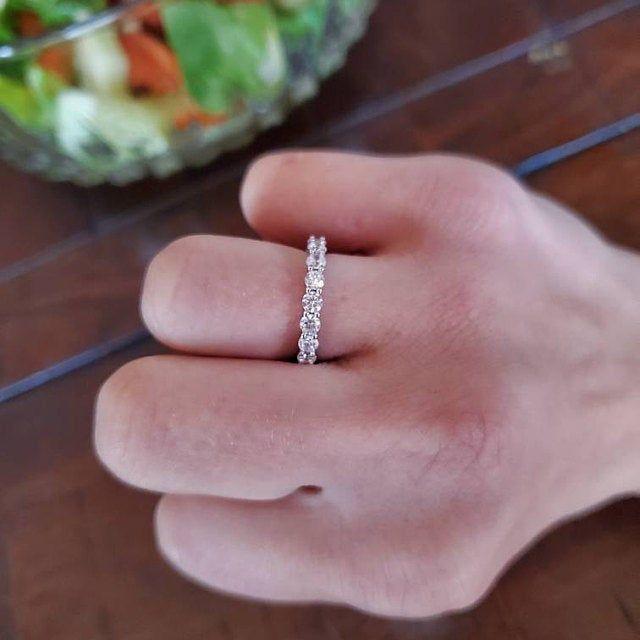 Pave Bridal Set Wedding Set 1.5 ctw Classic Pear Halo Engagement Ring Half Eternity Ring Man Made Diamond Simulants Sterling Silver