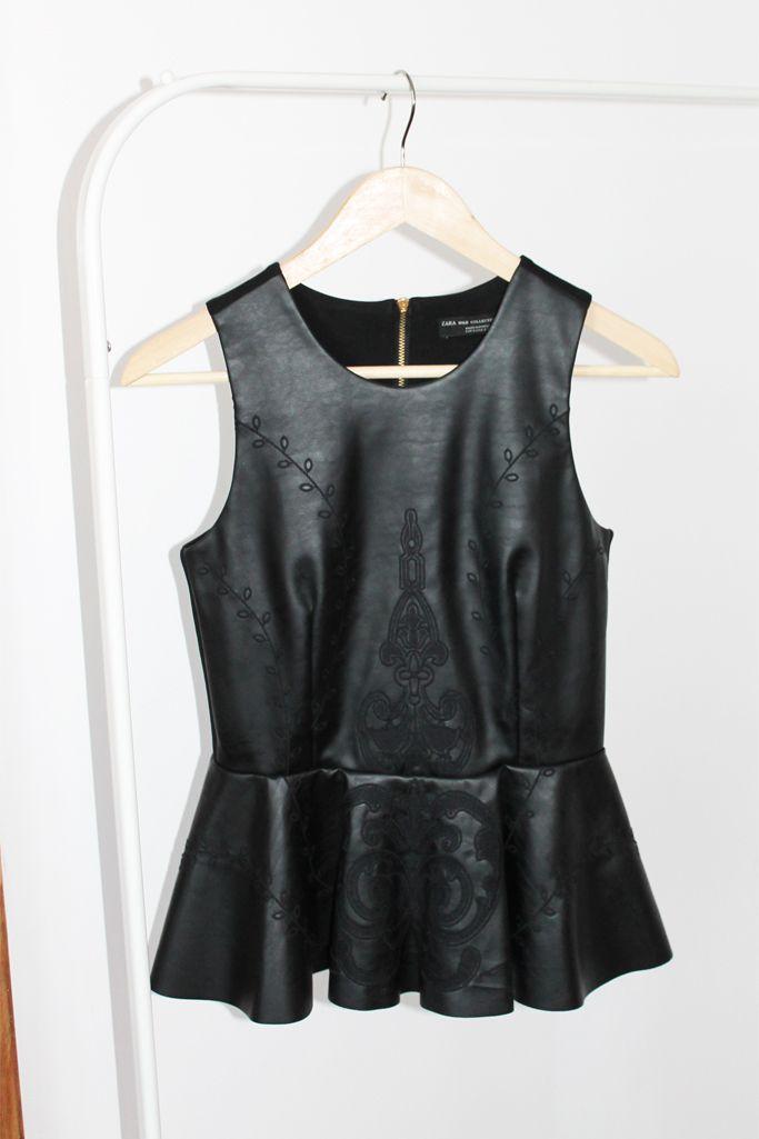 Size S, 40 lei leather peplum top