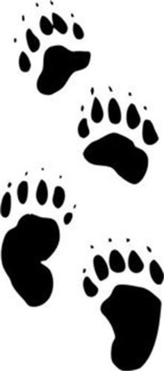 12 Count Bear Paw Print Vinyl Wall Decal Bear Paw Print
