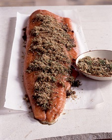 BROWN - SUGAR GRAVLAX  Ingredients    1 pound coarse salt  1 pound packed dark-brown sugar  2 tablespoons whole white peppercorns, cracked  2 bunches fresh dill, roughly chopped  Juice of 2 lemons  2 tablespoons extra-virgin olive oil  1 1/2 tablespoons brandy  1/4 cup whiskey, preferably Jack Daniel's  2 sides of salmon (3 pounds each), cleaned and skin on