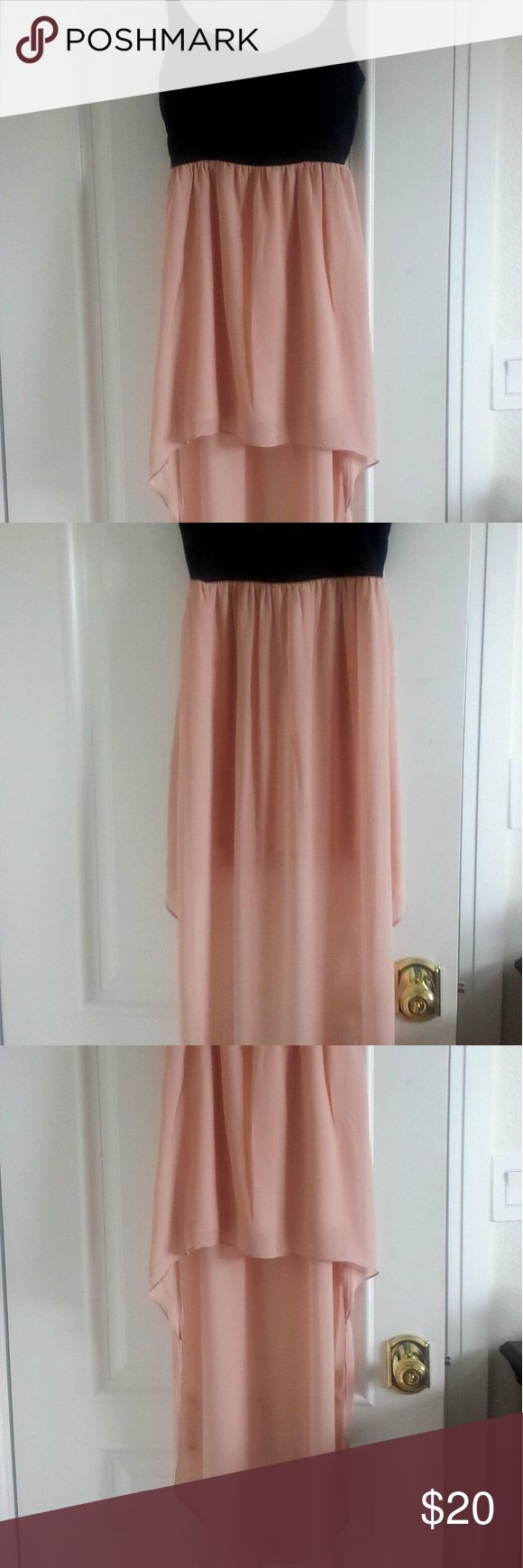 Peach/Black Hi-Low Bustier Dress (Small) Gorgeous flowy bustier hi-lo piece in black/peach. Front is mini/ back is maxi, comes with attached peach slip skirt. Bustier has a strap on the back (see pic) and elastic straps. In great condition. Let me know if you have any questions. Will trade if I see something I like. Casting Dresses High Low