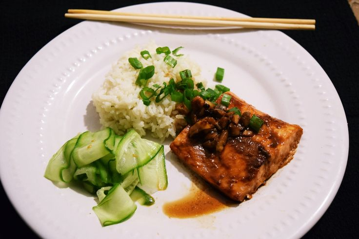 Salmon with Asian mushrooms teriyaki sauce, ginger rice and Japanese inspired cucumber salad