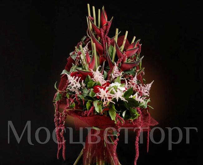 Components: Heliconia - 3; Tseloziya red - 5; Amarantus red - 10; Astilbe pink - 10; Hydrangea - 1; Salal; Package.  Состав: Геликония - 3; Целозия красная - 5; Амарантус красный - 10; Астильба розовая - 10; Гортензия - 1; Салал; Упаковка.
