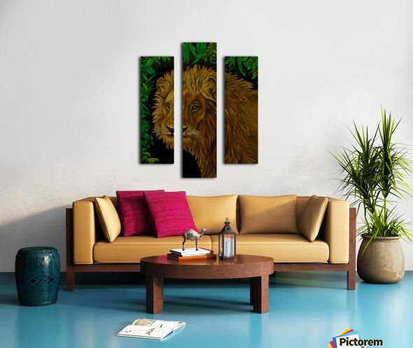 green, living room decor, canvas print, split canvas, triptych, lion, wildlife