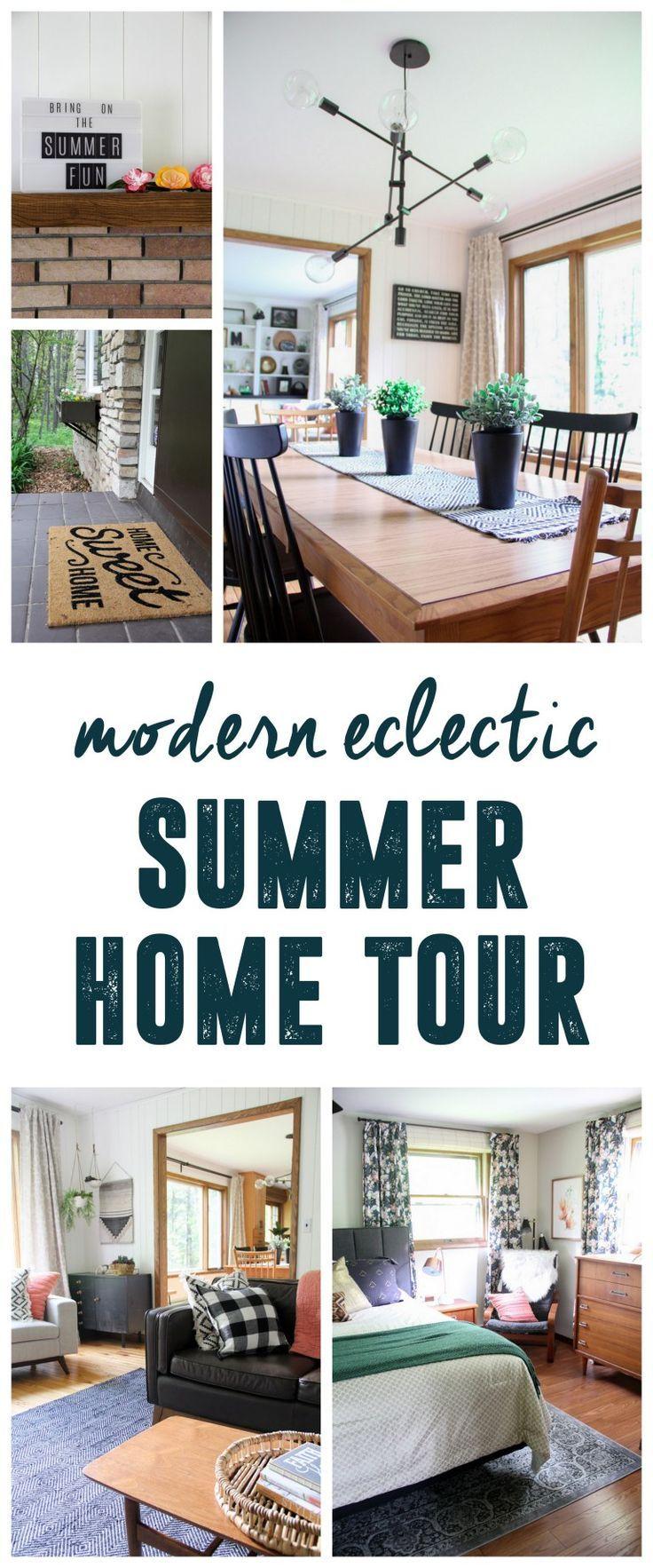 Modern Eclectic Summer Home Tour www.BrightGreenDo...