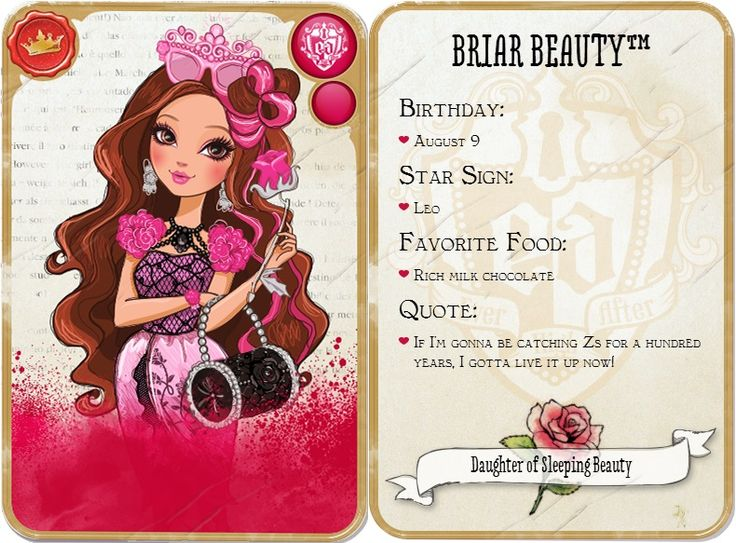 Hi everyone I am Briar Beauty and I am the daughter of sleeping beauty. This is my profile. My BFFA is Apple White