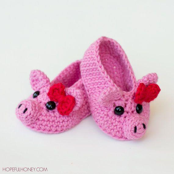 CROCHET PATTERN  Pink Piggy Baby Booties by HopefulHoneyDesigns