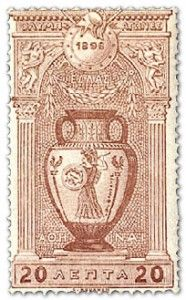 Greece, 1896. The first modern Olympic Games were held in Athens in April 1896, and Greece issued a series of twelve stamps to mark the occasion. The designs, by Professor Gillieron, were based on ancient Greek art and architecture connected with the games. This stamp features an Attic amphora:(wine-jar).