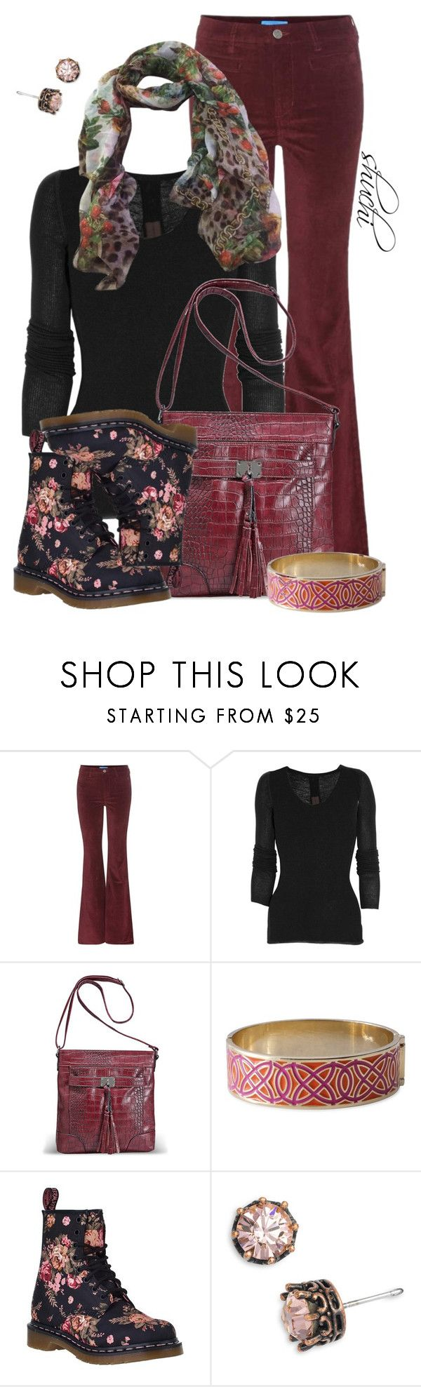 """""""Velvet in Vogue"""" by shuchiu ❤ liked on Polyvore featuring M.i.h Jeans, Rick Owens, Avenue, Stella & Dot, Dr. Martens, Juicy Couture, Dolce&Gabbana, velvet and dakflorals"""