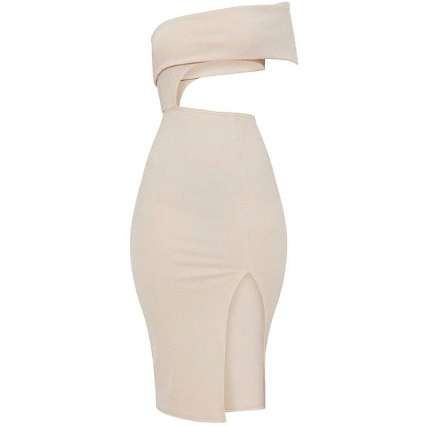 Stone One Shoulder Asymmetric Cut Out Midi Dress ($28) ❤ liked on Polyvore featuring dresses, mid calf dresses, asymmetrical cocktail dress, pink cut out dress, asymmetrical dresses and cut out dresses
