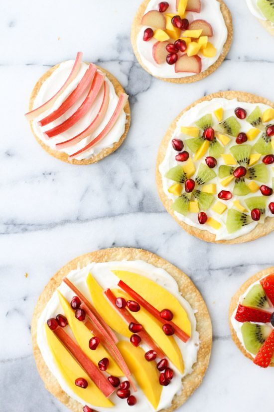 mini fruit dessert pizzas with homemade whipped cream