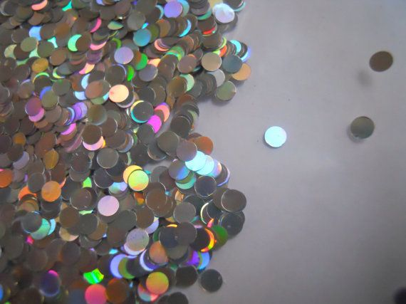 Holographic Silver Dot Glitter for table decor