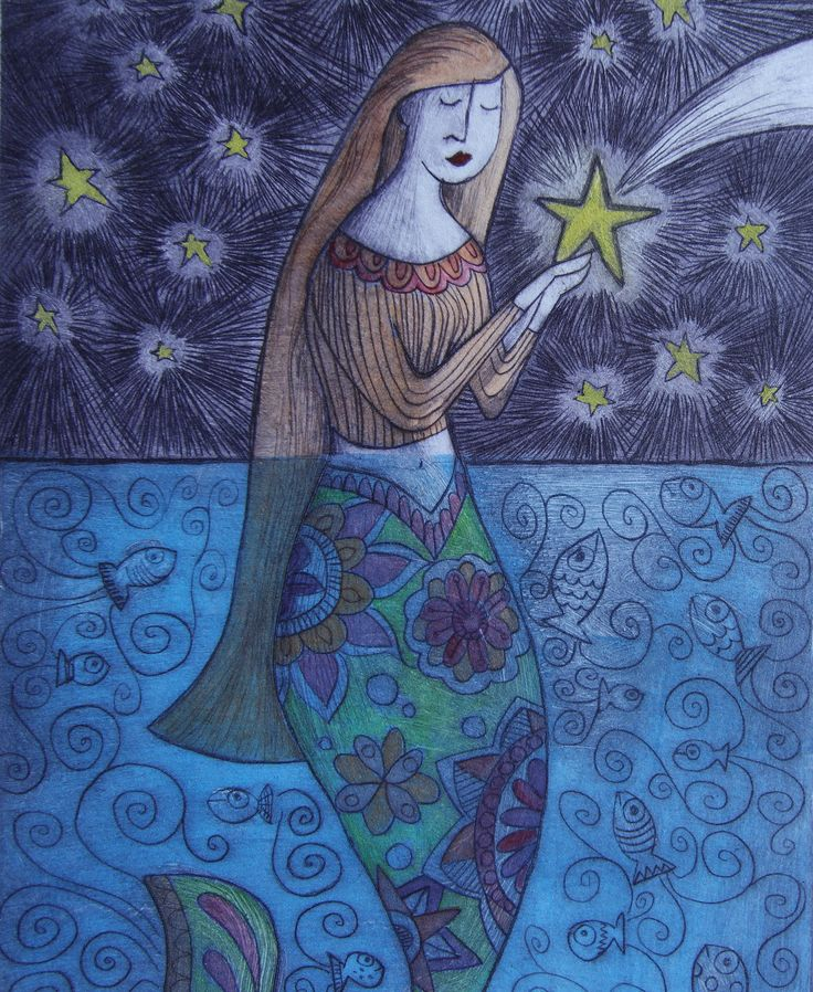 This is a drypoint etching of a mermaid name Izzy. She stands watch at night and catches the stars and returns them before they can sink into the ocean and lose their light. She is the guardian of the stars.  This is a drypoint etching done on plexiglass panel, printed on BFK Rives paper and hand finished using watercolor paint. It is a varied edition of only 30 prints. Because it is a varied edition, each print will be slightly different. Size is 6 x 9 The paper edges are torn in…