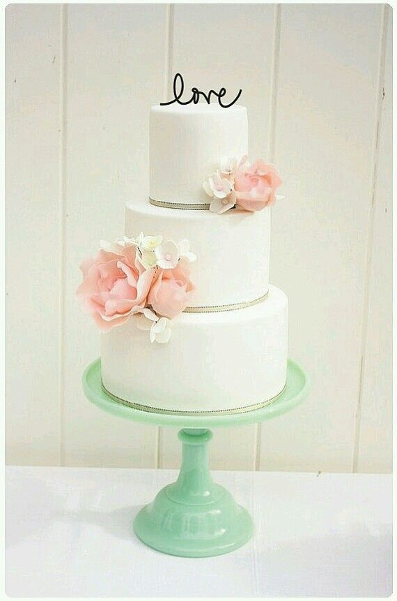 Lovely idea for any cake - personalized simple topper and cake served on jade milk glass