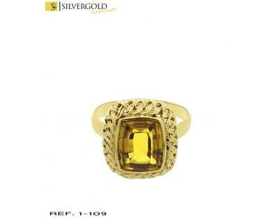 1-1-109-1-Anillo con piedra estilo citrino en talla esmeralda con orla calada T18 L5147