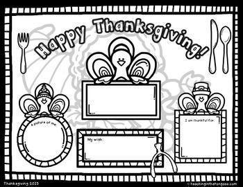 Free Thanksgiving Coloring Placemat Fall Fun