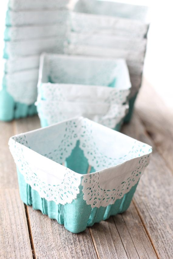 12 Lace Trimmed Berry Baskets by SweetJellyParties on Etsy