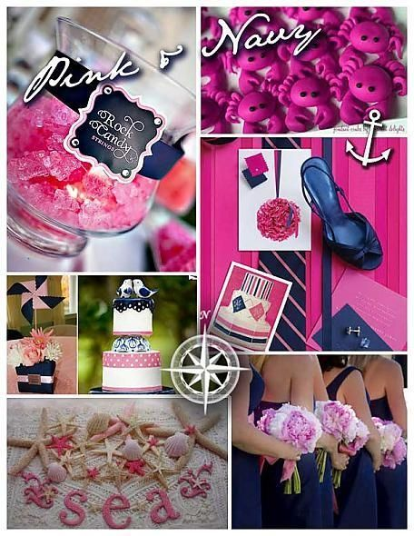 pink & fuschia color board with navy accents