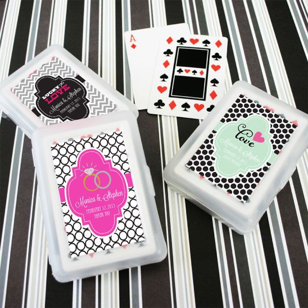 Personalized Playing Cards Wedding Favors (Event Blossom EB2033Z) | Buy at Wedding Favors Unlimited (https://www.weddingfavorsunlimited.com/personalized_theme_playing_card_favors.html).