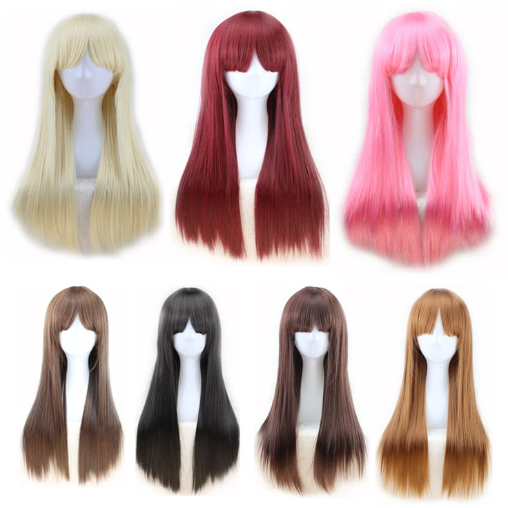 יפה בורדו עמוק פאות קוספליי פינק פאה עמיד בחום סינטטי שיער ארוך בצבע חום בלונדינית ישר נשים פאות עם פוני