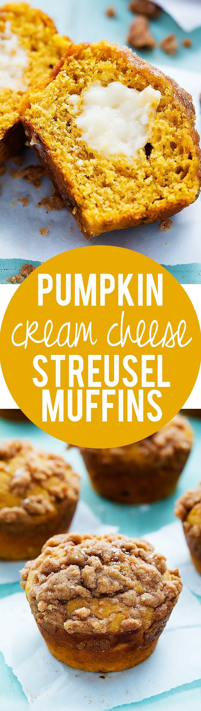 Pumpkin Cream Cheese Streusel Muffins | Creme de la Crumb