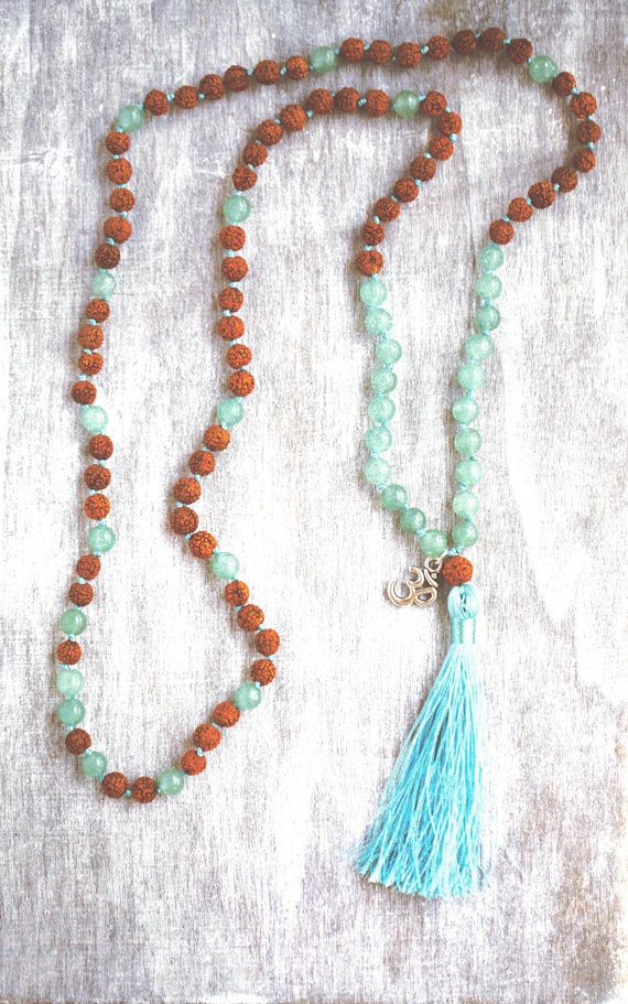 Mala 108 with Aventurine & Rudraksha with symbol Om