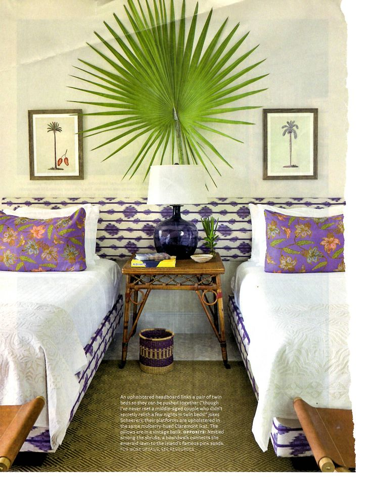 Purple and White Bedroom with clever headboard