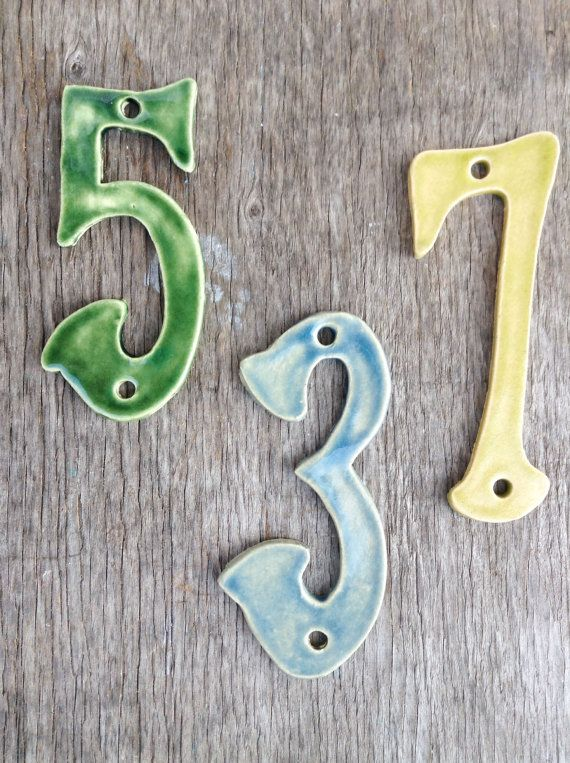 Hey, I found this really awesome Etsy listing at https://www.etsy.com/listing/186840707/numbers-ceramic-handmade-house-numbers