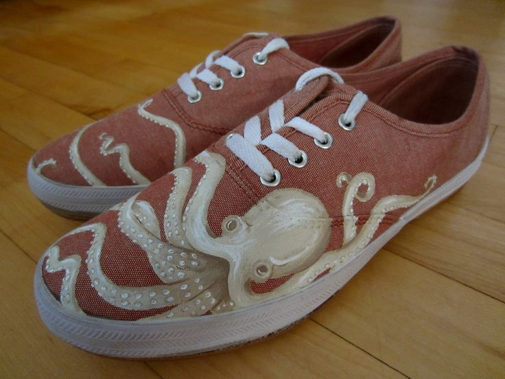 octopus painted canvas shoes