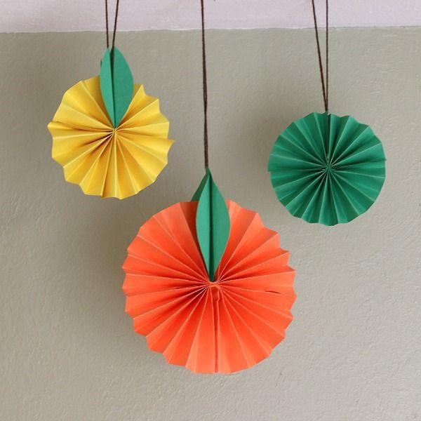 Hängende Zitrusfrüchte Papiermodelle für Kinder