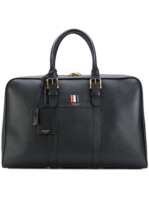 THOM BROWNE Buckle Strap Holdall Bag. #thombrowne #bags #shoulder bags #leather #