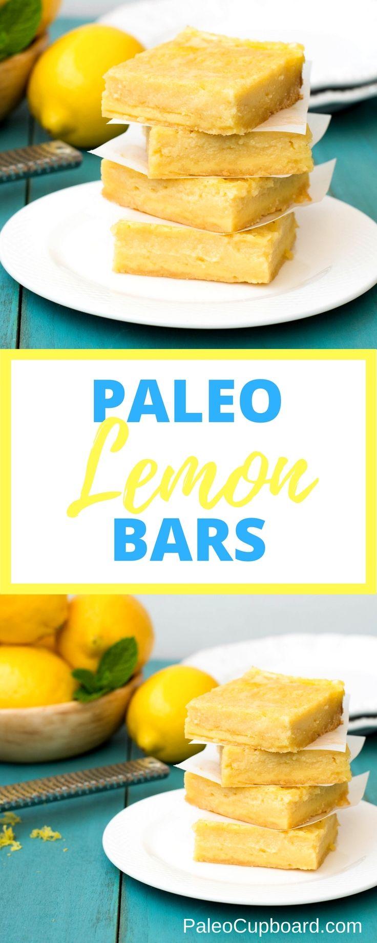 Paleo Lemon Bars - So tangy and tart, the perfect combination! www.PaleoCupboard.com
