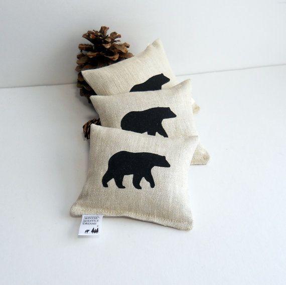 Set of Three Black Bear Balsam Fir Sachets in Natural by WSDreams
